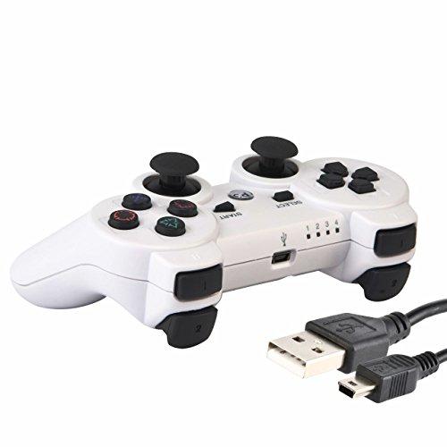 Playstation Fernbedienung-ladegerät 3 (KABI Wireless Bluetooth Fernbedienung Gamepad Joystick mit Dual Vibration für PS3 Controller PlayStation 3 Controller (Weiß))