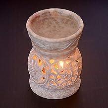 Hashcart Traditional Soapstone Tea Light Candle Holder/Designer Votive Candle Holder Stand/Table Decorative Candle Holder for Christmas Gift & Decor