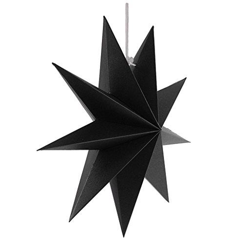 Gazechimp Hänge-Deko aus Papier 3D Sterne Form für Weihnachten Halloween Party - Schwarz, 30 cm (Formen Schwarze Halloween)