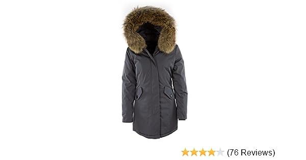 DSguided Damen Echtfell Winterjacke mit Kapuze in div. Farben Parka Jacke  Fell, Größe S Farbe Grau  Amazon.de  Bekleidung c33341a218
