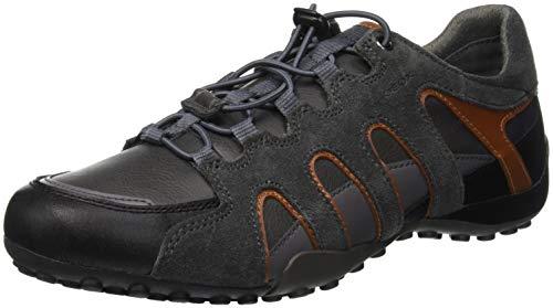 Geox Herren Uomo Snake A Sneaker, Grau (Anthracite/Dk Orange C9a7l), 46 EU