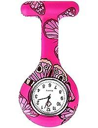 naisicatar reloj de enfermera broche Fob des infirmieres Túnica Unisex Doctor Enfermera Flor Broche colgante de bolsillo reloj de cuarzo de bolsillo con clip # Mariposa Rosa # X 1