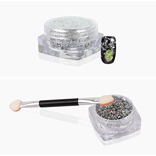 Tefamore 3g / boîte de poudre de scintillement d'ongle d'or briller d'art bricolage miroir en mousse en poudre