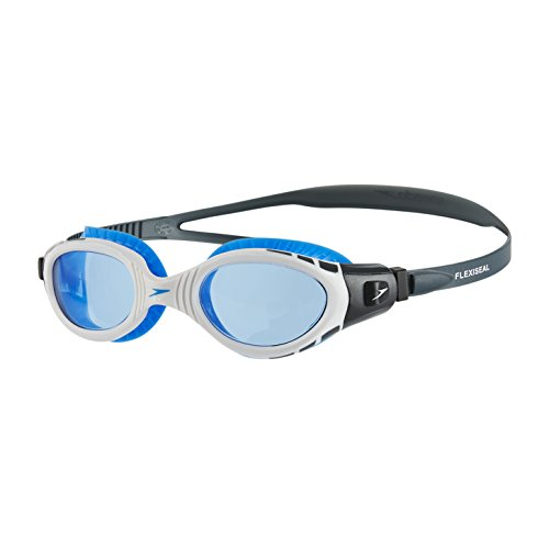Speedo Futura Biofuse Flexiseal Gafas de Natación, Unisex Adulto, Gris óxido/Blanco/Azul, Talla Única