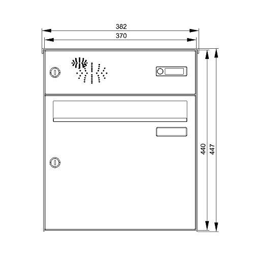 Max Knobloch Aufputz-Briefkastenanlage mit Klingel und Sprechsieb AP11-244-E Edelstahl (12 Liter) - 2