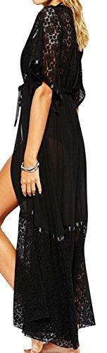 Zauberkirschen - Damen langer Kaftan im Häkel Design, Viele Farben Schwarz