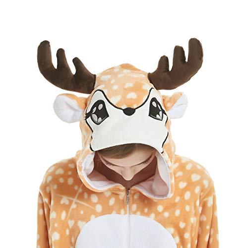 Chenrry Pyjamas Tieroutfit Schlafanzug Snorlax Tier Onesies Weihnachten Sleepsuit mit Kapuze Erwachsene Unisex Overall Halloween Kostüm Fawn S
