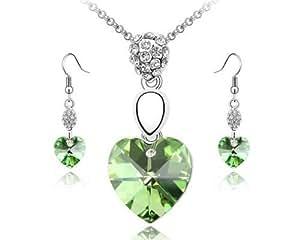 Cristal Swarovski Collier avec pendentif cœur et boucles d'oreilles vert