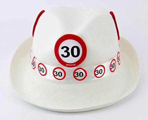 Männer Hüte Kostüm - Folat 62330 Tribly Party Hut-Verkehrszeichen 30 Jahre, Weiß, Einheitsgröße