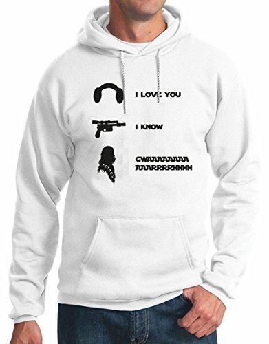 felpa con cappuccio, i love you, i know, gwaaarrrhhh- tutte le taglie uomo donna S M L XL XXL maglietta by tshirteria bianco