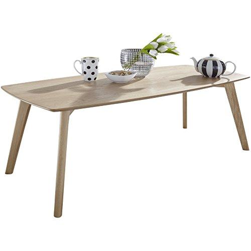 WOHNLING MDF table basse avec table salon en placage de chêne | Table basse ferme style campagnard | Table design en bois Table de salon scandinave | Table en chêne massif Salon Meubles SCANIO