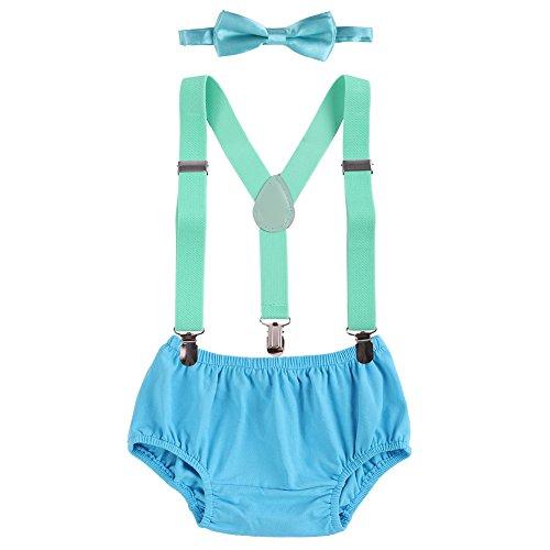 Obeeii Baby 1. / 2. Geburtstag Outfit Neugeborenen Kinder Bloomer Shorts + Fliege + Clip-on Hosenträger 3pcs Bekleidungssets für Foto-Shooting Kostüm Blau & Mintgrün (Strand-hochzeit Leinen-hose)