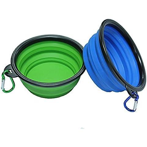 AntEuro pieghevole Pet Bowl, commestibile silicone BPA pieghevole espandibile Coppa del piatto per Pet Cat Dog Food Acqua alimentazione portatile ciotola da viaggio (Confezione da 2)