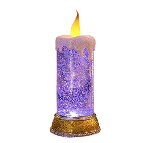 LEDMOMO 0,4 Watt Glitter LED Liquid Kerzen Batteriebetriebene USB Lade Flammenlose lichter für Geburtstag Weihnachten Party Dekor (Lila)