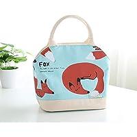 Preisvergleich für Yudanwin Leinwand-Lunch-Tasche Outdoor Cartoon Leinwand Isolierung frische Wasserdichte Lunchbox Tasche (Fox)