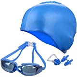 QUINERGYS Moderate Blue - Swimming Goggles+ Nose Clip+ Silicone Swim Cap+Ear Plugs, Swim Goggles Anti Fog UV Protection For Adult Men Women Youth Kids Child