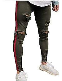 cff091d204 Targogo Pantalones De Corte para Hombre Destruido Agujeros Slim Fit Jeans  Pantalones Pantalones Casuales Pantalones De