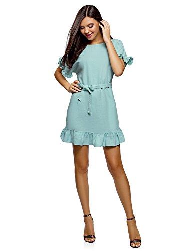 oodji Ultra Damen Leinen-Kleid mit Volants, Blau, DE 42 / EU 44 / XL