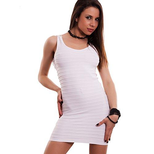 Toocool - Vestito donna miniabito scollo schiena pizzo tubino elastico fluo nuovo F3260 Bianco