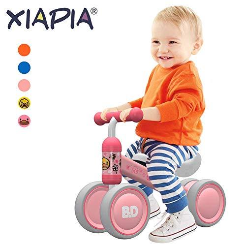 Kinder Laufrad Spielzeug für 10 - 24 Monate Baby, Lauflernrad mit 4 Räder, Erst Fahrrad für Jungen/Mädchen als Geschenke für 1 Jahr Alt Rosa Ente