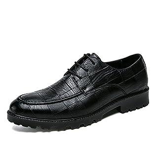 Jingkeke Herren Lace Up Formelle Business Oxfords Herren Flache Ferse Freizeit Hochzeit Kleid Schuhe auffällig (Color : Schwarz, Größe : 41 EU)