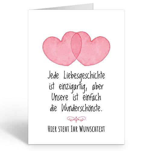 Große Ich Liebe Dich XXL-Karte zum Aufklappen (DIN A4) PERSONALISIERT - 2 Herzen mit Wunschname oder Wunschtext - mit Umschlag/Edle Design Klappkarte/Geburtstag/Valentinstag/Extra Groß/Gutschein