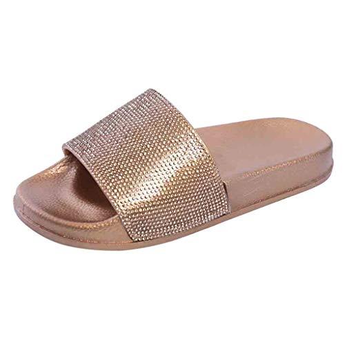 Dorical Hausschuhe Damen Glitzer Sandale Pantoletten Flandell Sandalen Outdoor Sommerschuhe Sandaletten Dusch Badeschuhe Flip Flops Rutschfest Leicht Badesandalen Elegant Party Schuhe(Gold,39 EU)