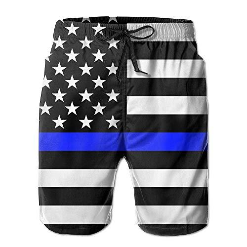 magic ship Fine Blue Line Flag of The United States Men's/Boys Casual Swim Trunks Short Elastic Waist Beach Pants with Pockets Medium Childrens Place Blue Jean