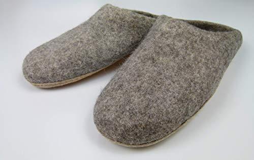 Warme Filzpantoffeln unisex für Damen und Herren, Hausschuhe aus Filz (Wolle) mit Ledersohle grau natur Handarbeit