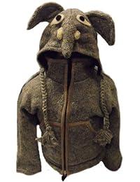 Kids Elephant Jacket - Handknitted Fair Trade Woollen Childs Animal Jacket - Elephant