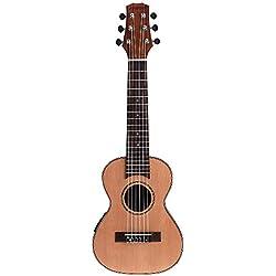 """Andoer® 28 """"Guitalele Guitarlele Guilele Guitarra Viajes Solid Cedar Rosewood Diapasón Puente Instrumento de Cuerdas con una Función de Ecualizador de 3 Bandas Funda Caja Audio Cable Correa"""