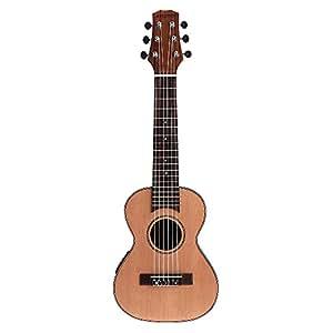 """Andoer 28 """"Guitalele Guitarlele Guilele Voyage Guitare en Cèdre Massif Touche Palissandre Pont Instrument à Cordes avec Built-in EQ 3 Bandes Gig Box Câble Audio Strap"""