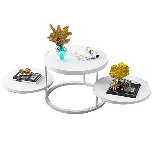 YNN Tisch 360 ° Rotation Couchtisch Wohnzimmer Snack Tisch 3 Ebenen Sofa Beistelltisch Iron Art Runder Nachttisch Schlafzimmer Balkon Büro (Color : B) -