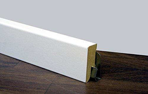 25 m TRECOR® Sockelleiste Weiß 40 mm Hoch | CUBE Form 16 x 40 mm ✓Kabelkanal ✓weisse Oberfläche | MDF Trägermaterial | Länge 2.5m | Bodenleiste für Laminat | Abschlussleiste CUBE Profil rechteckige Form für Parkett | CUBE Fußleiste für Teppichboden (Cube Laminat)