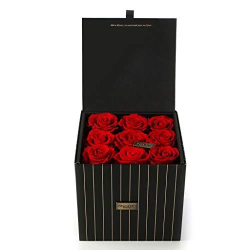 XXDYEE Neun Ewige Blumen-Rosen-Blumen-Geschenkbox Konservierte Blumen (Farbe : Red)