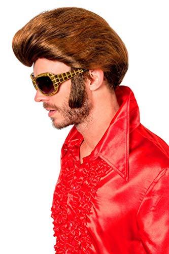 Karneval-Klamotten 50er Jahre Perücke braun Rock n Roll Perücke Rockabilly Herren-Perücke (Elvis Baby Halloween-kostüme)