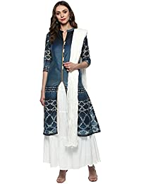 Haute Curry By Shoppers Stop Womens Mandarin Neck Printed Churidar Suit