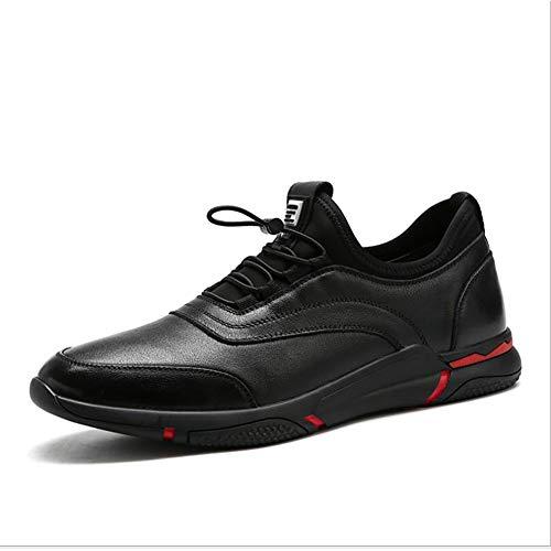 Sneakers da Uomo 2018 New Comfort Scarpe da Corsa in Pelle Primavera Autunno Scarpe Casual Scarpe da Trekking da Esterno (Colore : Nero, Dimensione : 38)