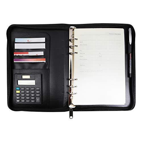 Konferenzmappe A5 - Schreibmappe mit Taschenrechner - Leder Schreibmappe, Dokumentenmappe, Ledermappe - Nachfüllbare Notizbücher - Visitenkarten- und Stifthalter - Reißverschluss - Damen un Herren - Personal-reißverschluss