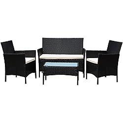 Conjunto de Muebles Ratán de Jardin o Terraza 4 Piezas con Cojines Blancos,1 Mesa de Café 1 Sofá Biplaza y 2 Sillas, Color Negro