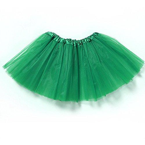 JUYUAN-EU Mädchen Tütü Minirock Organza Pettiskirt 3 Layers Petticoat Damen Tanzkleid Unterrock Spitze, Organza, Ballett Tutu Regenbogen Röckchen (Tutu Frauen Grün)