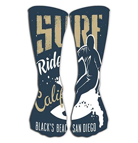 Outdoor Sports Men Women High Socks Stocking Surfing Artwork Black s Beach san Diego California Apparel Print original Graphic Surfing Tile Length 19.7