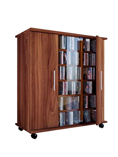 2 Tür Eiche Bücherschrank (VCM Regal DVD CD Rack Sideboard Medienregal Medienschrank Aufbewahrung Standregal Mobil Möbel Sonoma-Eiche