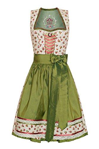 Edelheiss Damen Mini Dirndl 60er creme-grün geblümt Vero
