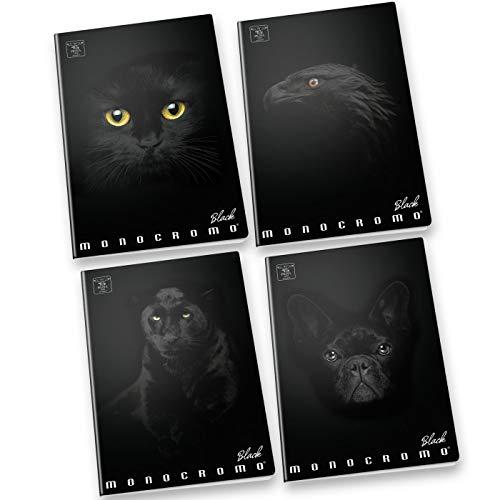 Pigna monocromo black, quaderno formato a4, rigatura 1r, righe per medie e superiori, carta 100g/mq, pacco da 10 pezzi
