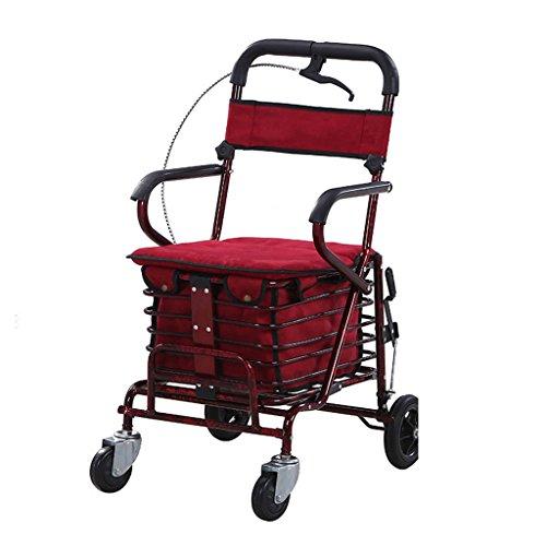 Einkaufstrolleys Senioren Einkaufswagen Die Älteren Menschen Schieben Den Roller Können Sitzen Um Das Fahren Zu Fördern Falten Vier Rollstühle Um Lebensmittel-LKWs Zu Kaufen Tragen 150KG Geschenke Für