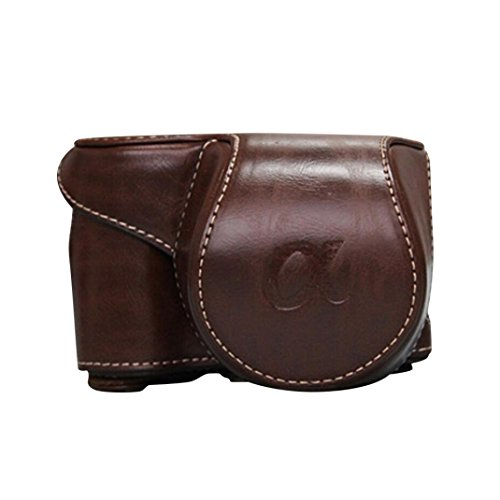 Kingko® Leder Kameratasche Case Cover Tasche für Sony A6000 A6300 NEX 6 (Kaffee) (Cami Kaffee)