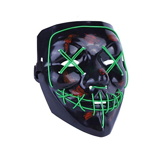Qelon Halloween Scary Mask Cosplay Led Costume Mask El Wire Light Up Mask for Parties Festival  Green Light