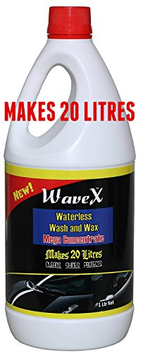 Wavex Waterless Wash and Wax Car Shampoo Washer Mega Concentrate Makes 20 litres from 1 LTR (1 LTR) - 100 Washes