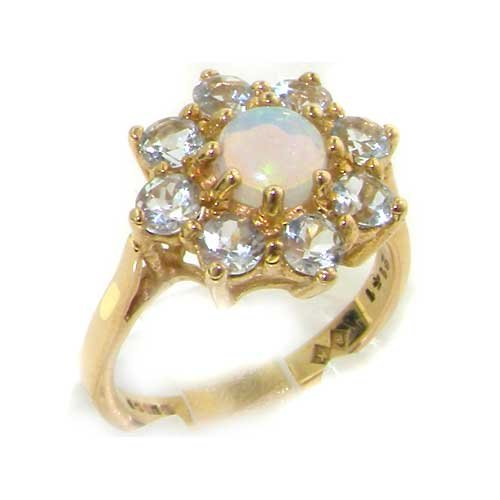 9ct Yellow Gold Ladies Opal & Aquamarine Cluster Ring